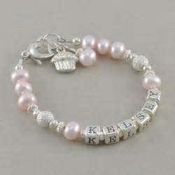 goddaughter charm personalized name bracelet pink pearls by sixsistersbeadworks