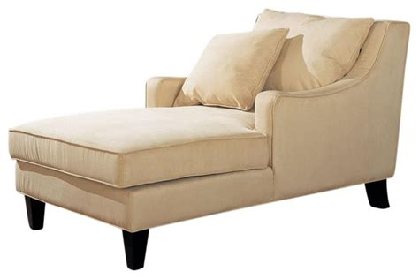 armchair and chaise lounge microfiber sloping track arms chaise lounge with lumbar pillow beige transitional indoor