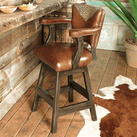 Western Furniture: Waller Western Tooled Leather Barstool