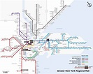 Map of NYC commuter rail: stations & lines