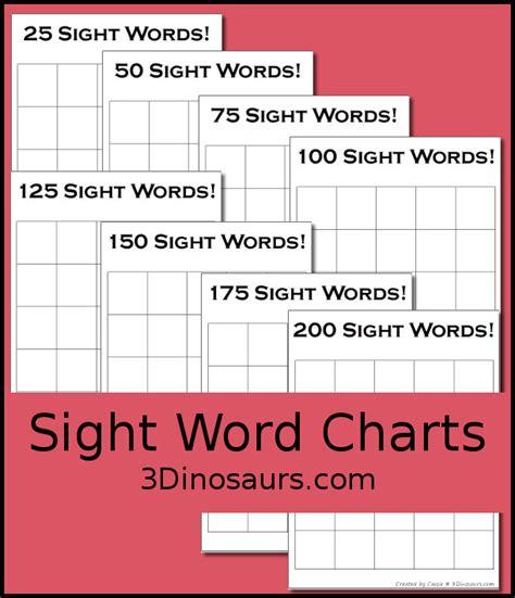 sight word charts  dinosaurs