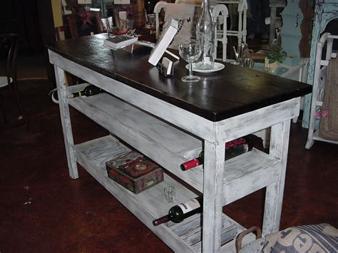 Single Plank Top Wine Bar Buffet Table W 2 Shelves 10