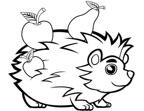 Cute Hedgehog with Fruits coloring page Free Printable