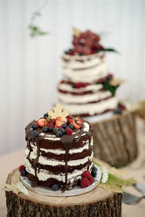 picture  naked wedding berry cake