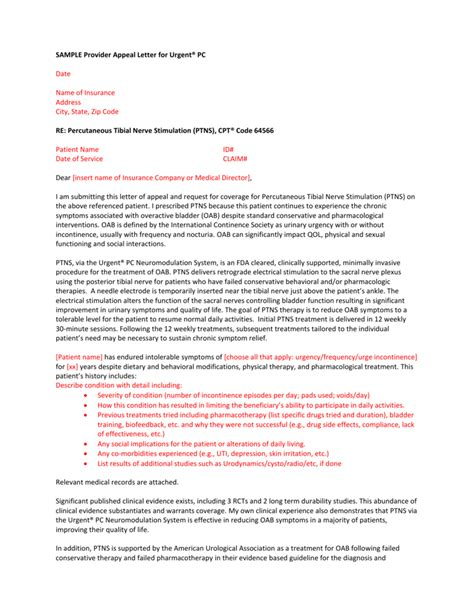 Download sample insurance company appeal letter in word. SAMPLE Provider Appeal Letter for Urgent® PC Date Name of