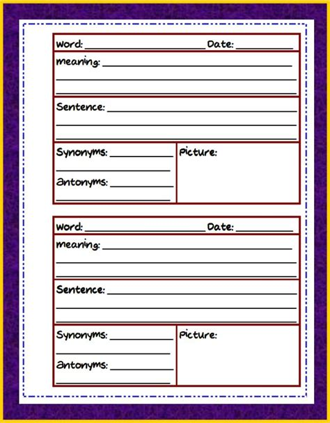 vocabulary template 9 best images of vocabulary journal printable vocabulary journal template vocabulary journal