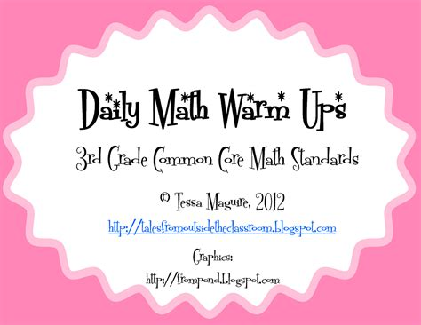 3rd Grade Common Core Math Warm Ups  Classroom Freebies