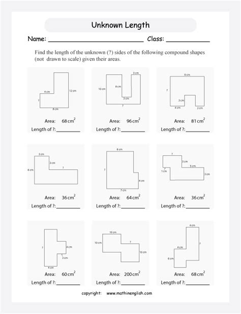 area and perimeter of compound shapes worksheets