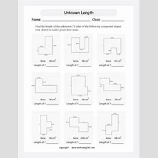 Find The Length Of The Unknown Sides Of These Compound Rectangular Shapes Given Their Areas