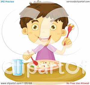 Cartoon Of A Boy Eating A Rice And Shrimp Meal Royalty