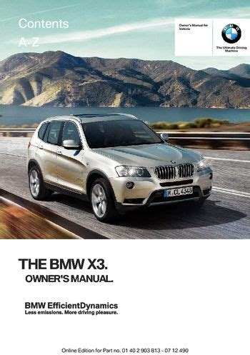 download car manuals pdf free 2010 bmw x3 on board diagnostic system 2013 bmw x3 xdrive28i owner s manual pdf 211 pages