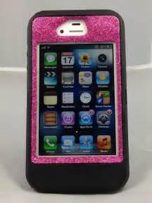 iPhone 4 4S Otterbox Case Glitter Cute Sparkly Bling Defender Series Custom Case Raspberry
