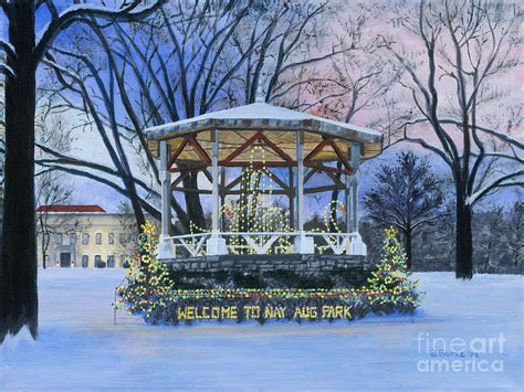 nay aug park holiday lights painting by austin burke