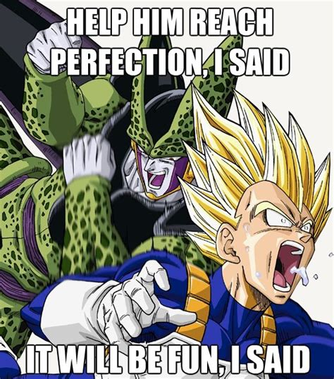 Perfect Cell Meme - i punched my son for this dragon ball know your meme