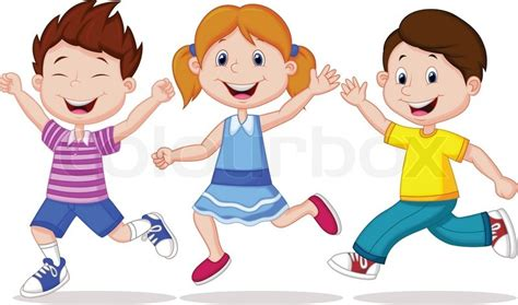anak fn vector illustration of happy children running