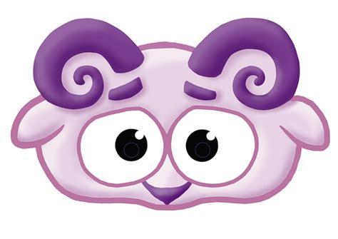 kids mask template animals purple sheep