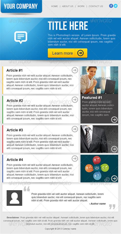 email newsletter templates clean business email newsletter template by ilyasnone graphicriver