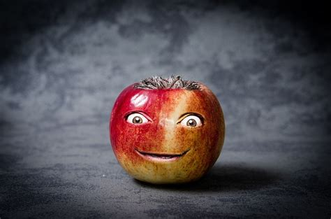 apple funny face photo  photo  pixabay