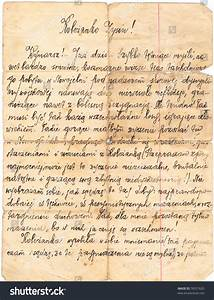 fragment of an old handwritten letter written in polish With handwritten letter paper