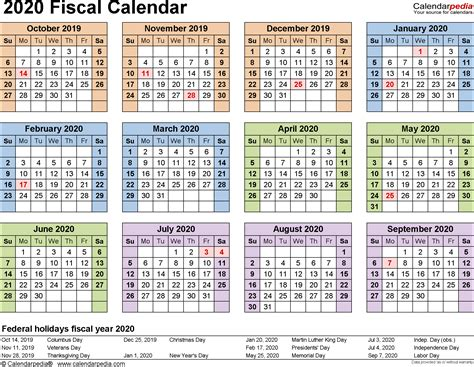 Fiscal Calendars 2020 As Free Printable Word Templates