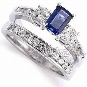 Anzor jewelry 14k white gold sapphire diamond engagement for Sapphire engagement ring and wedding band set