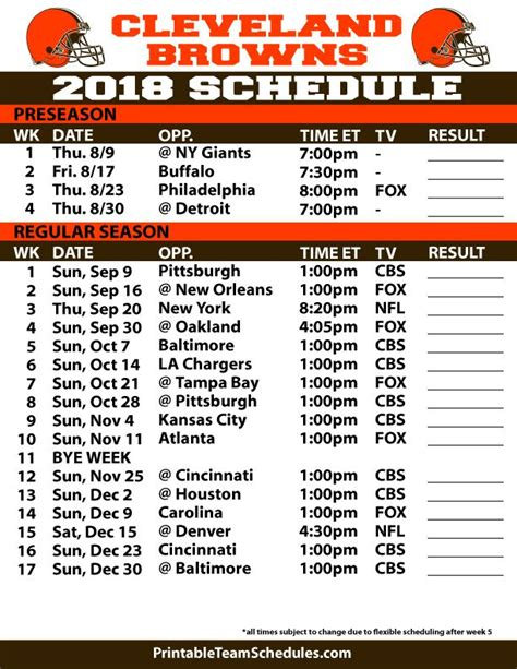 cleveland browns printable schedule cleveland