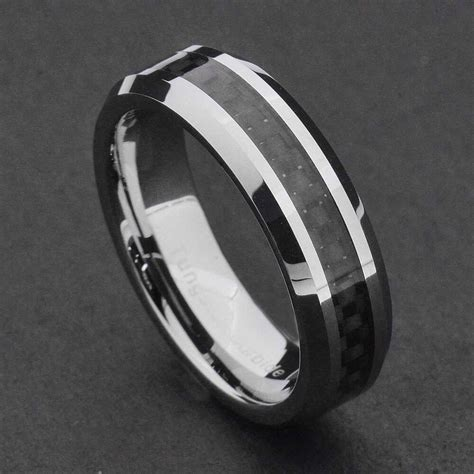 womens tungsten wedding rings 6mm tungsten carbide black carbon fiber s wedding band ring ebay