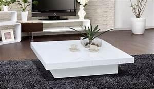 Table Salon Carrée : table basse carree slate laquee blanc table basse topkoo ~ Teatrodelosmanantiales.com Idées de Décoration