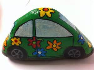 Hand Painted Rock Car