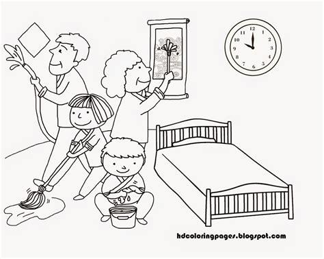 Gambar Kartun Keluarga Membersihkan Rumah Lingkungan Contoh Gambar