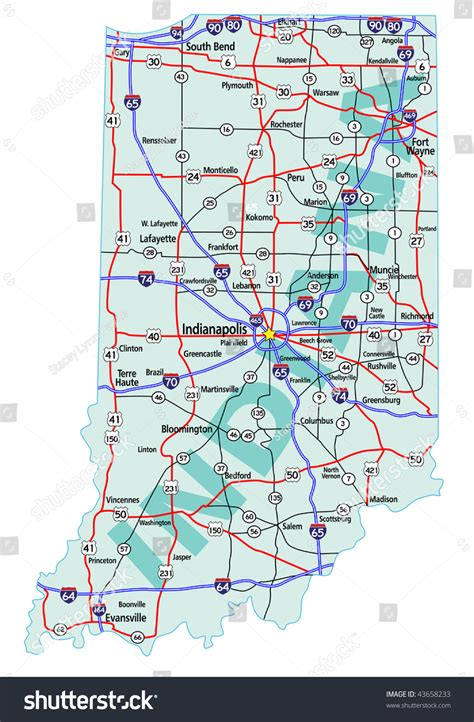 indiana map highways interstates roads state road shutterstock separate elements official easy editing layers become vector