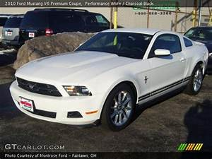 Performance White - 2010 Ford Mustang V6 Premium Coupe - Charcoal Black Interior | GTCarLot.com ...