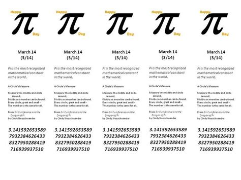 Pi Day Bookmark Free Printable