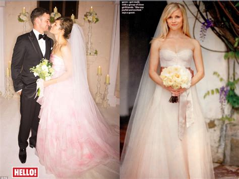Reese Witherspoon & Jessica Biel Pink Wedding Dresses