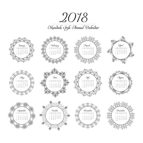 Kleurplaat Mandala Mexico by Calendario 2018 Con Dise 241 O De Mandala Descargar Vectores