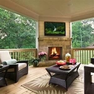 love the corner fireplace & TV! Decks/Porch Ideas
