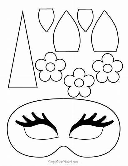 Unicorn Printable Masks Halloween Templates Crafts Birthday