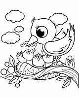 Coloring Bird Nest Birds Children 15t23 sketch template