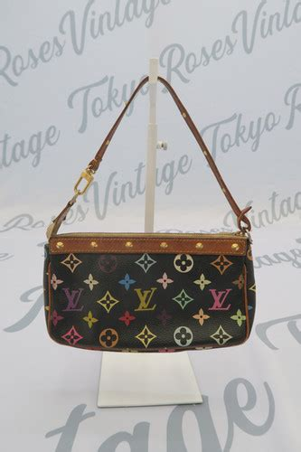 louis vuitton black multi color shoulder bag mini tokyo roses vintage