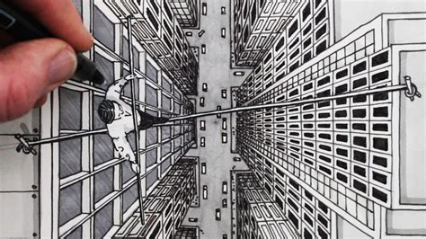 One Point Perspective Birds Eye View Drawing
