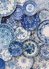 Blue and White Dishes with Pattern
