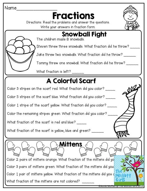 fractions with word problems tons of great printables