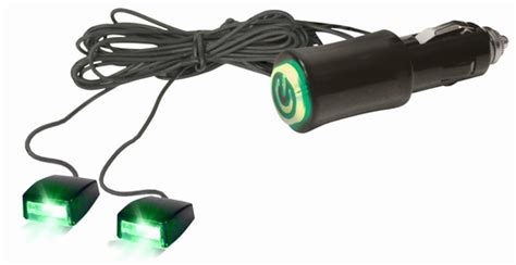 green light auto parts 12v cigarette lighter plug green led accent light beams