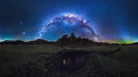 wallpaper galaxy long exposure milky way night sky