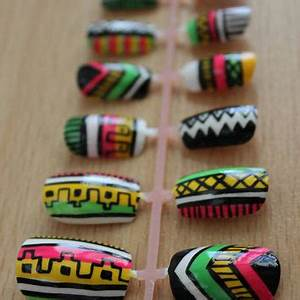 Neon Pink Yellow and Green Tribal from misunis on Etsy