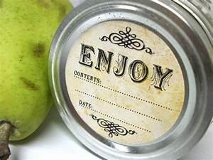 vintage enjoy canning jar labels round mason jar stickers for With jar lid labels round