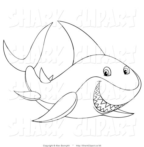 Shark Outline Clipart Black And White Collection