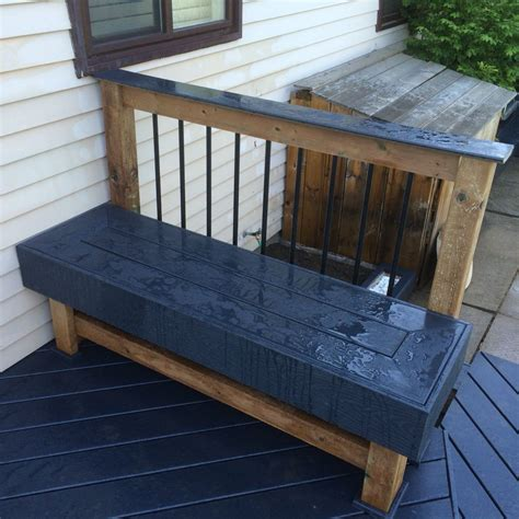 composite deck bench seating  railing design deck