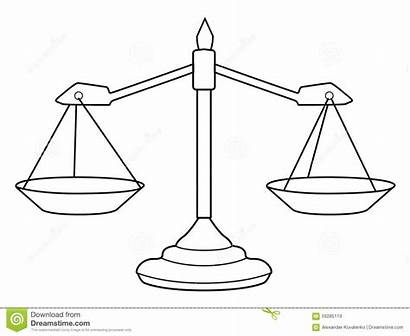 Scales Justice Illustration Outline Coloring Clip Template
