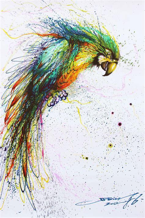cuadros de animales hechos  tinta salpicada